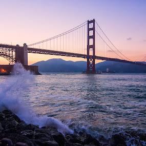 Splash at The Golden Gate by Jamie Valladao - Landscapes Waterscapes ( golden gate bridge, splash, bay, wave, ocean, bridge,  )