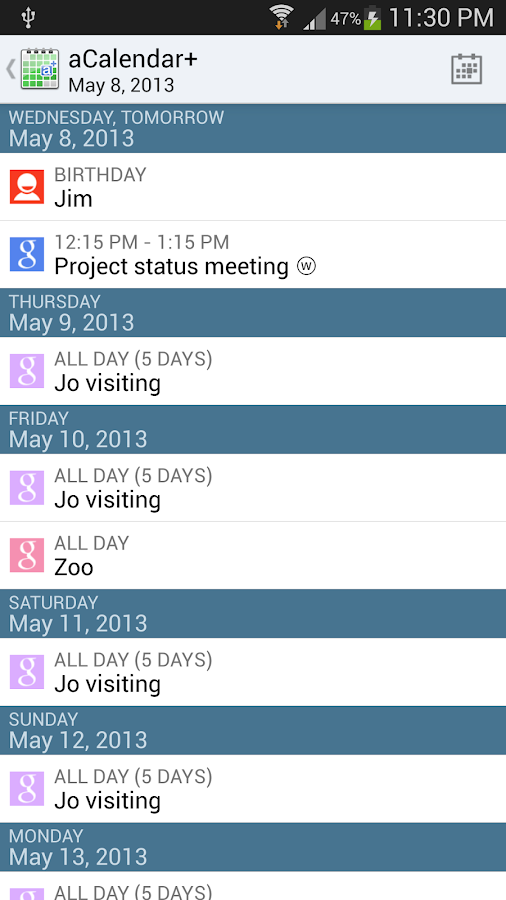 aCalendar+ Android Calendar - screenshot