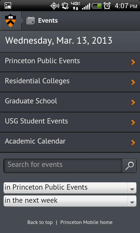 Princeton Mobile- screenshot