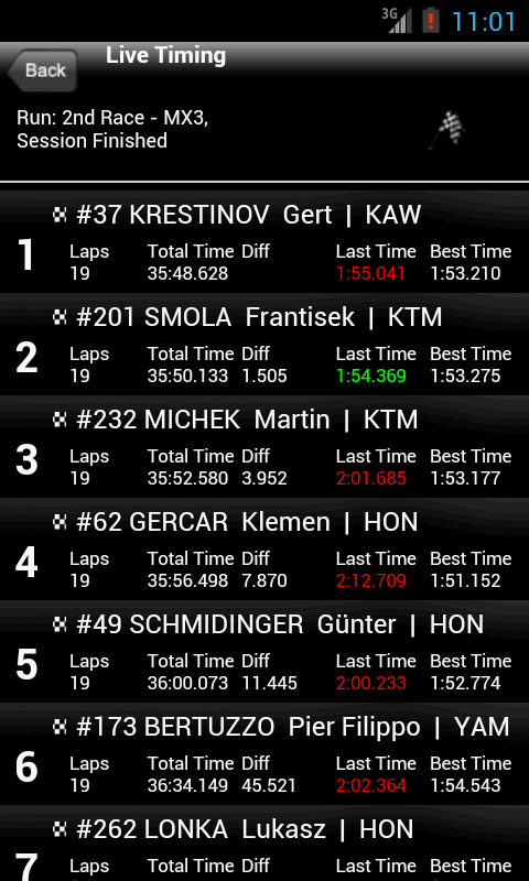 Live Timing- screenshot