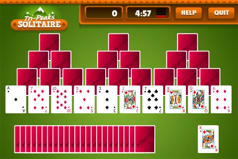 tri-peaks solitaire card games free online
