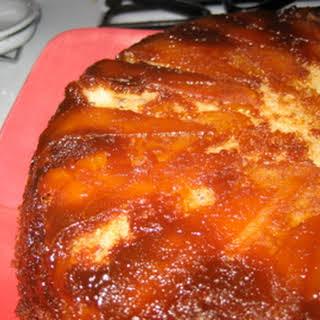 Apple Pear Upside-Down Cake with Ginger Caramel Glaze.