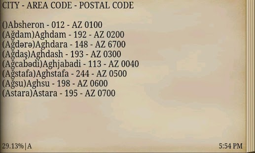 AZERBAIJAN AREA & POSTAL CODE- screenshot thumbnail