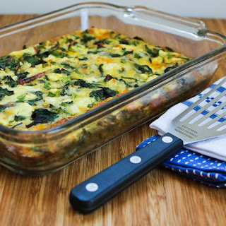 Swiss Chard, Mozzarella, and Feta Egg Bake