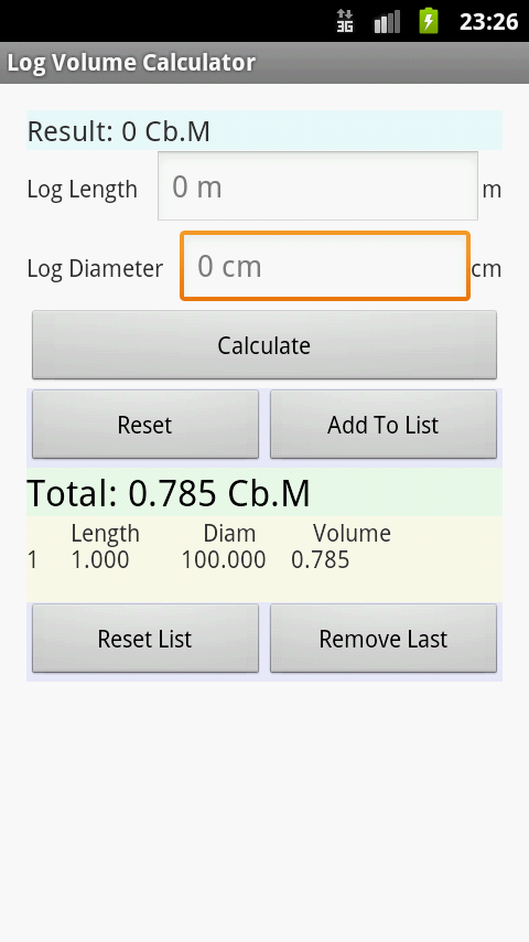 Log Volume Calculator - screenshot