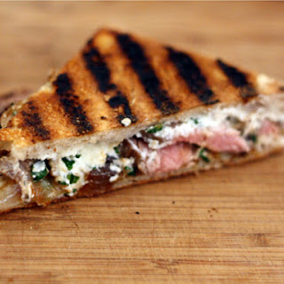 Flank Steak Panini with Goat Cheese and Caramelized Onions.