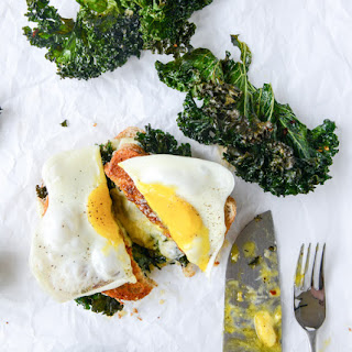 Crispy Kale Grilled Cheese with Fried Eggs