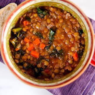 Lentil and Kale Soup with Merguez.