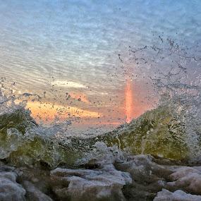 Overflow by Jeremy Church - Nature Up Close Water ( wave splash, sun pillar, lake michigan, waves, ice, sunset, water splash )