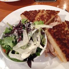 Turkey sandwich with side salad. Great bread!