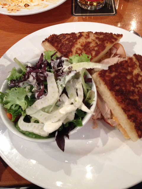 Turkey sandwich with side salad. Great bread!
