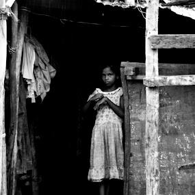 life in a dark world... by Pritam Das - Black & White Objects & Still Life ( child, dark world, black and white, innocent, poor, alone )