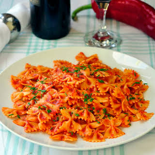 Hot or Cold Roasted Red Pepper Farfalle Salad.