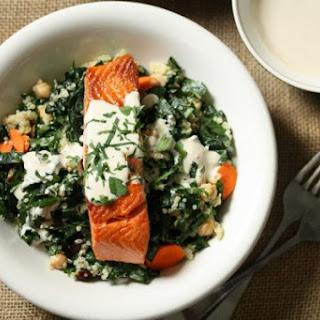 Salmon and Quinoa Bowl with Kale and Tahini-Yogurt Sauce {recipe}
