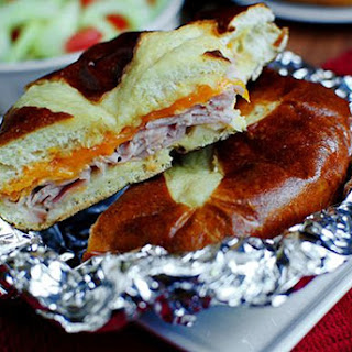 Baked Ham & Cheese Pretzel Sandwiches with Garlic Butter
