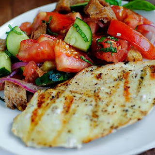 Panzanella with Cucumbers and Pickled Onions