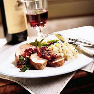 Peppered Pork Tenderloin with Cranberry-Onion Compote.
