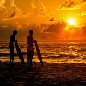 Wating on the wave by Shelley Patterson - Sports & Fitness Surfing ( water, surfing, sunset, beach, skimmer, surf,  )