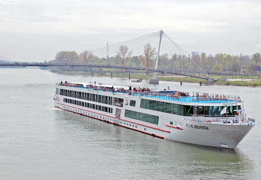 Rhine River crossing between Germany and France with the Viking Helvetia river cruise ship.