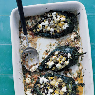 Stuffed Poblano Peppers in a Chipotle Sauce.