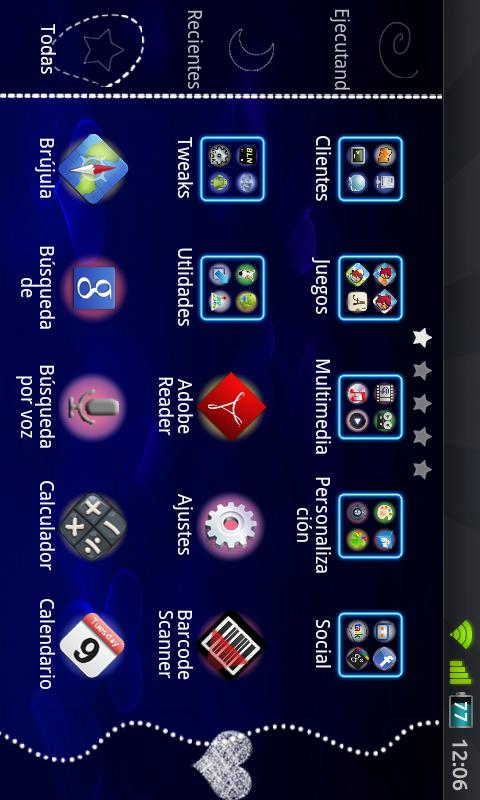 GO Launcher Blue Heart Theme - screenshot