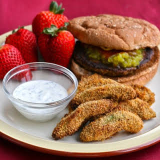 Baked Avocado Fries with Cilantro Ranch Dipping Sauce.