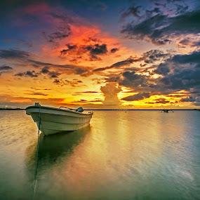 Lonely BOat by Bayu Adnyana - Transportation Boats ( bali, tuban, seascapes, sunrise, boat, landscapes )