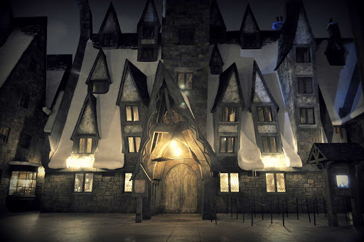 The Three Broomsticks at night at Universal Studios Florida Theme Park in Orlando, Florida.