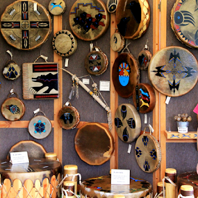 Indian Instruments by Marsha Biller - Artistic Objects Musical Instruments ( hanging, tambourines, indian, display, drums, home made )