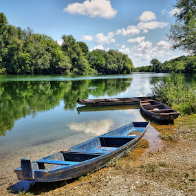 Three wooden boats by Oliver Švob - Instagram & Mobile Android ( clouds, instagram, reflection, europe, river kupa, croatia, river boat, boat, wooden boat, sony, sony xperia, sky, nature, tree, kupa, beautifle day, mobile, river,  )
