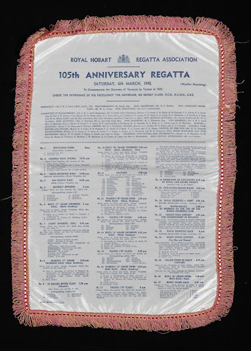 One Hundred and Fifth Anniversary Hobart Regatta program