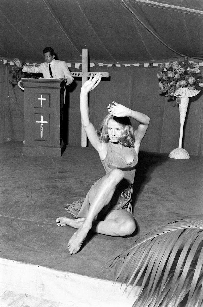 "Salome Jane Performing As Delilah The Temptress In The Illustrated Sermon Scene Film ""Angel Babey"""