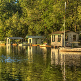 Serenity on Cedar Lake by Ward Vogt - Landscapes Waterscapes ( water, green, trees, denville, cedar lake, nj, boat, bungalow, photography, ward vogt, new jersey )