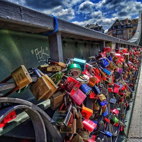 Love locker by Jose Figueiredo - City,  Street & Park  Street Scenes ( love, locker, germany, bridge,  )
