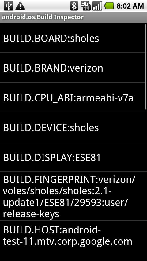 Inspector for android.os.Build- screenshot