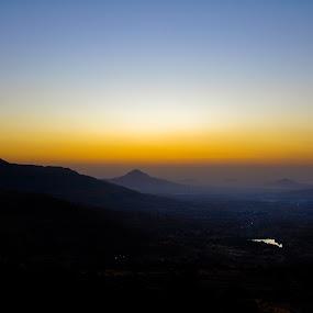 Before Rise by Rohan Pavgi - Landscapes Mountains & Hills ( mountains, dawn, lohagad, sahyadri, india, sunrise, maharashtra, , purple, yellow, color )
