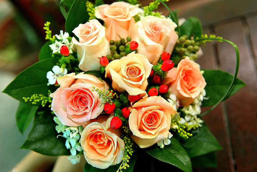 Roses Bridal Bouquet by Leong Jeam Wong - Flowers Flower Arangements ( bouquet, arrangement, wedding, roses, flower )