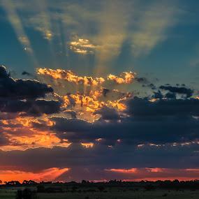 Majesty by Hans-Erik Arp - Landscapes Sunsets & Sunrises ( clouds, african, god rays, sunset, magaliesberg, south africa, sundown, stormsignal, sunlight, colours )