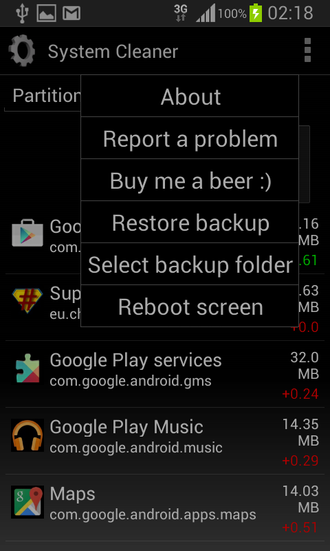 System cleaner ROOT - screenshot