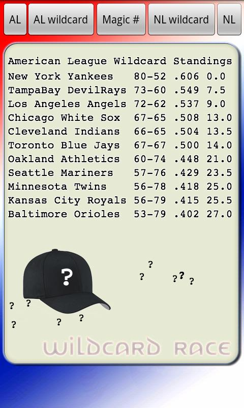 MLB Wildcard Magic Number - screenshot