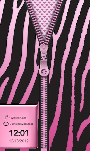 ★Pink Zebra Zipper Lock Screen