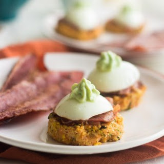 Mexican Carrot Fritters with Bacon and Egg {Gluten Free, Low Calorie, High Protein, Low Fat}