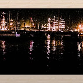 Night time a Falmouth Tall ships by Sal Hosking - Landscapes Waterscapes ( boats, night time, cornwall )