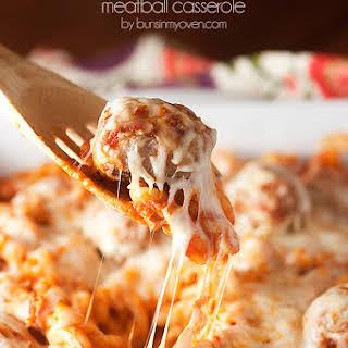 Chicken Parmesan Meatball Casserole.