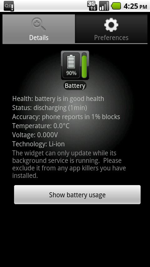 Battery Watcher Widget - screenshot