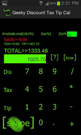 Geeky Discount Tax Tip Cal