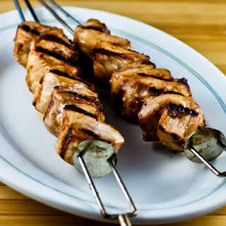 Grilled Pork Kabobs with Spicy Peanut Butter, Sesame, and Soy Sauce Marinade.