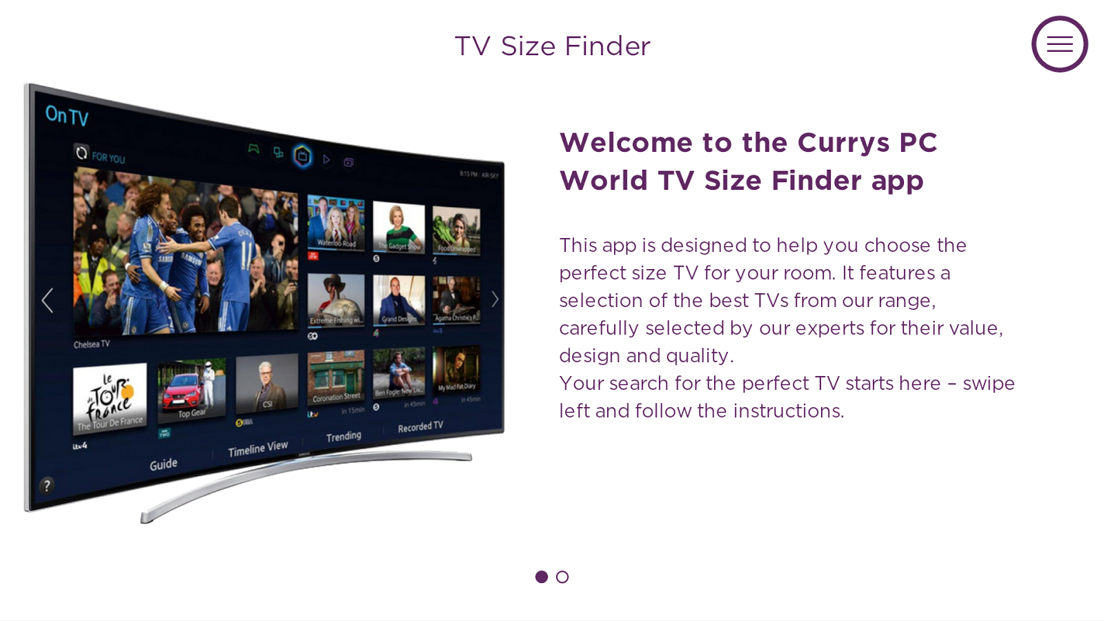CurrysPCWorld TV Size Finder- screenshot