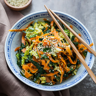 Raw Kale, Cabbage and Carrot Chopped Salad with Maple Sesame Vinaigrette Recipe