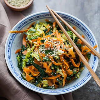 Raw Kale, Cabbage and Carrot Chopped Salad with Maple Sesame Vinaigrette.